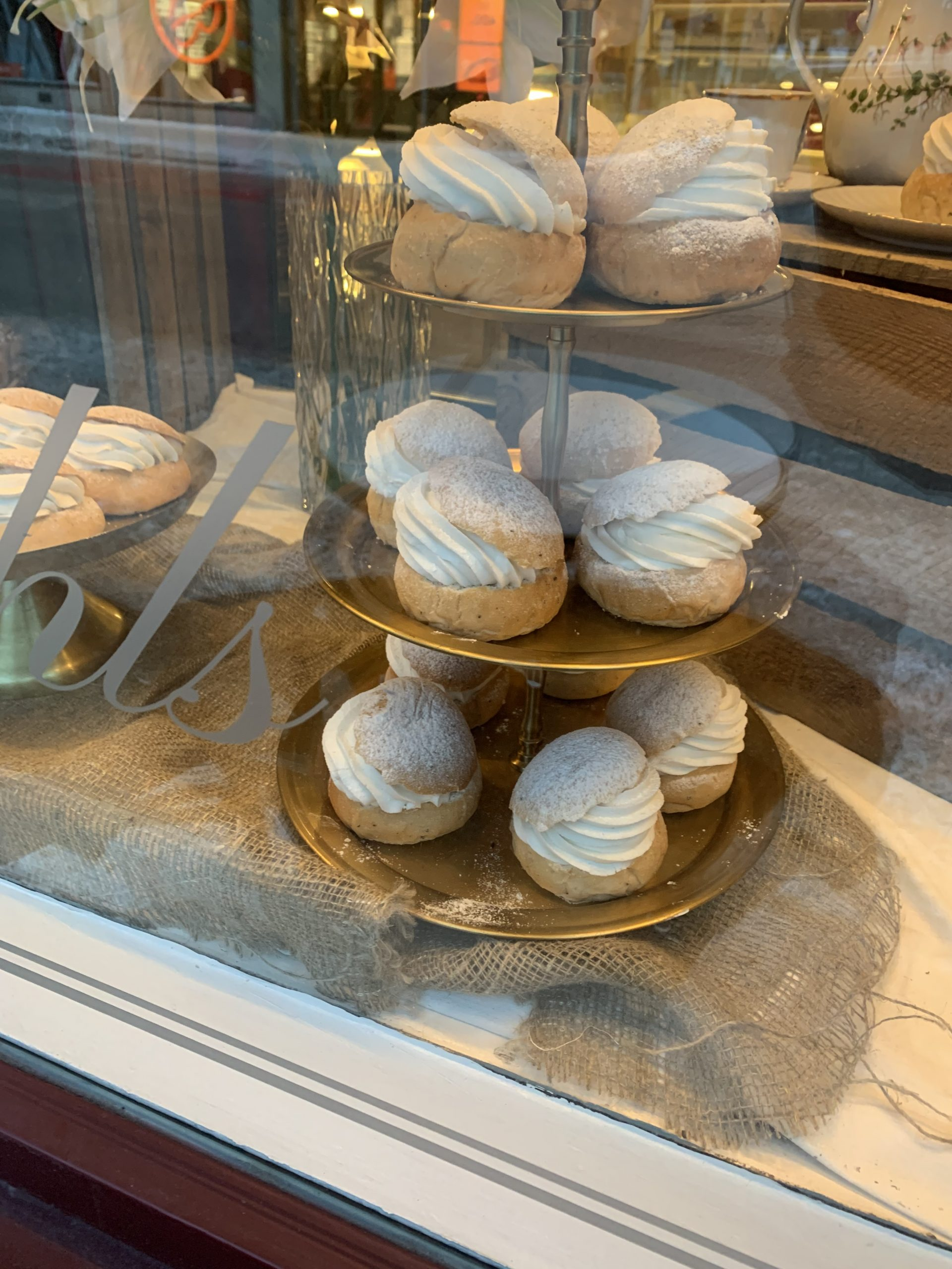 pastries behind glass window